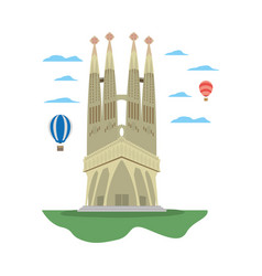 Sagrada familia tower and air balloons vector