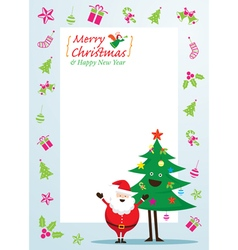 Santa Claus and Tree Characters Icons and Frame vector image