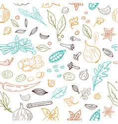seamless hand drawn pattern with different vector image
