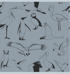 Seamless pattern birds hand drawn vector
