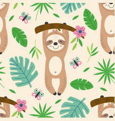 seamless pattern with happy sloth vector image