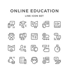set line icons of online education vector image