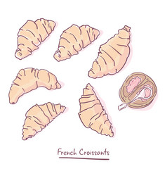 set of french croissants isolated on white vector image