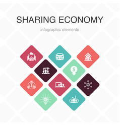 Sharing economy infographic 10 option color design vector