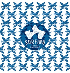 Shark surfing seamless pattern and emblem vector