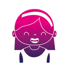Silhouette smile girl with hairstyle and headband vector