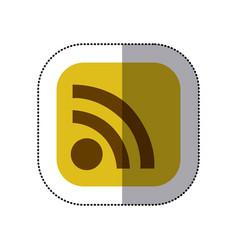 sticker color square with wifi icon vector image