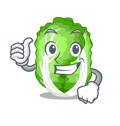 Thumbs up character chinese cabbage in wooden bowl vector
