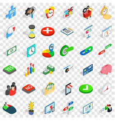 Trade icons set isometric style vector