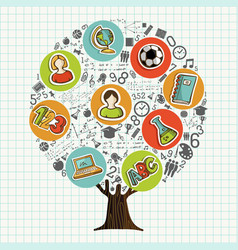 tree made of school icons for education concept vector image