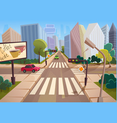 Trendy cartoon gradient style city with vector