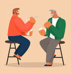 Two men friends sitting on chair eating noodles in vector