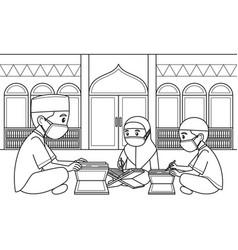 Ustaz and his students read koran vector