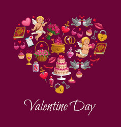 Valentine day love hearts cupids and flowers vector