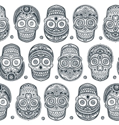 Vintage ethnic hand drawn human skull seamless vector image