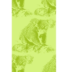 Vintage of a koala bear seamless animal pattern vector