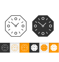 wall clock simple black line icon vector image