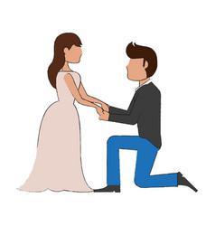 wedding proposal cartoon vector image