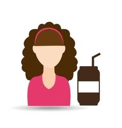 Character girl soda coffee icon graphic vector