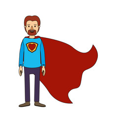 color image caricature full body super dad hero vector image vector image
