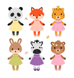 cute dressed animals in modern flat style vector image