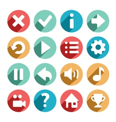 Flat and round game icons vector image