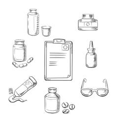 Prescription and medical sketch icons vector image
