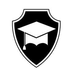 shield insurance with graduation hat isolated icon vector image vector image