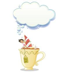 A girl above the big mug of tea vector image