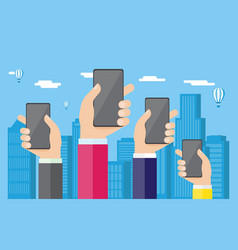 hands with phones against the background of the vector image