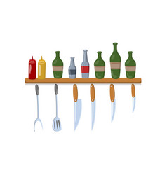 kitchen shelf with cooking tools and bottles vector image