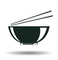 monochrome japanese bowl sign vector image