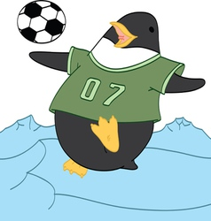 Penguin playing Soccer vector image vector image
