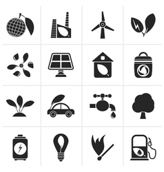 Black Green Environment and ecology Icons vector image