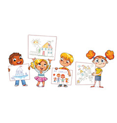 cute kids show their drawings drawn vector image