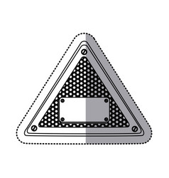 sticker silhouette triangle metallic frame with vector image vector image
