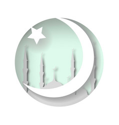 the mosque the crescent and star islamic style vector image