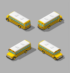 yellow isometric 3d school bus flat style vector image vector image