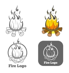 Engraving fire logo emblem vector image vector image