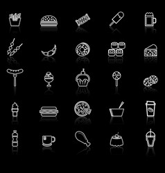 fast food line icons with reflect on black vector image vector image