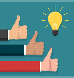 great idea thumb up symbol lightbulb flat style vector image