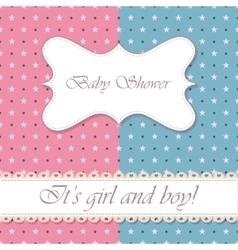 Polka dot baby shower girl and boy vintage vector