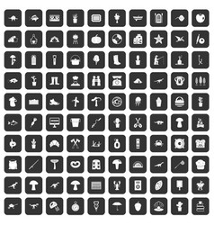 100 hobby icons set black vector