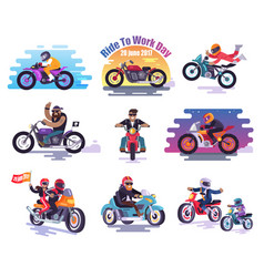 20 june 2017 ride to work day set vector