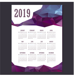 2019 geometric calendar with purple colors vector image