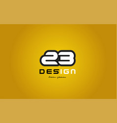 23 number numeral digit white on yellow background vector