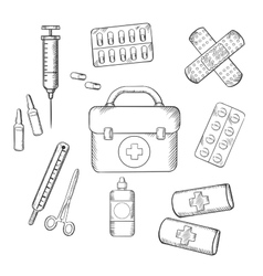 Ambulance and medical sketch icons vector