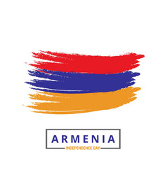 Armenia brush stroke flag with independence day vector