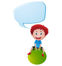 boy on green ball with speech bubble vector image