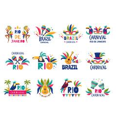brazil badges rio colored carnival muzical samba vector image